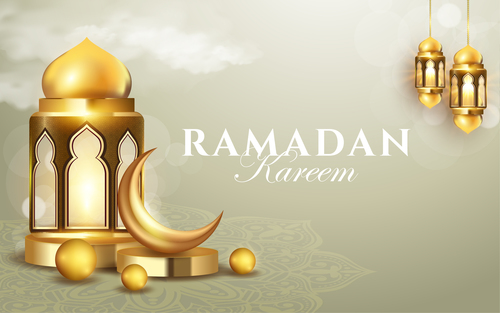 Mosque crescent lantern Ramadan kareem card vector