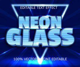 Neon glass style neon editable text effect vector