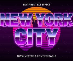New york city editable text effect retro style vector