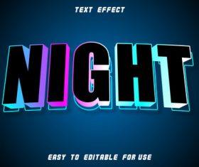 Night editable text effect emboss retro style vector