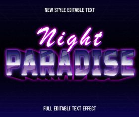 Night paradise new style editable text vector