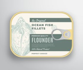 Ocean fish fillets canned packaging container vector