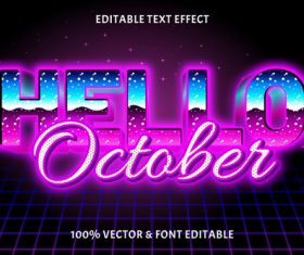 October editable text effect retro style vector