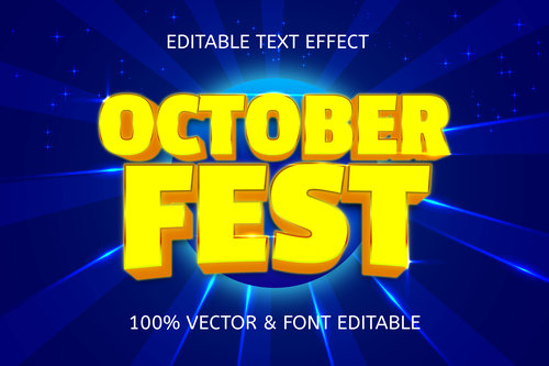 October fest style neon editable text effect vector