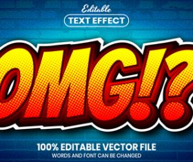 Omg text font style vector