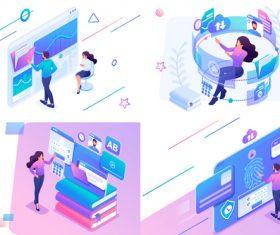 Online payment flat design vector