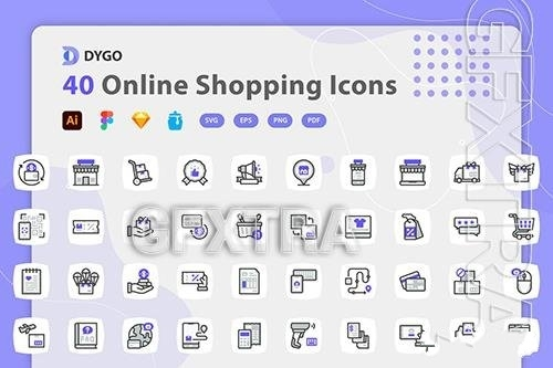 Online shopping icons pack vector