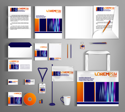 Orange and blue background business template vector