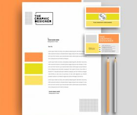 Orange business letterhead and business card vector
