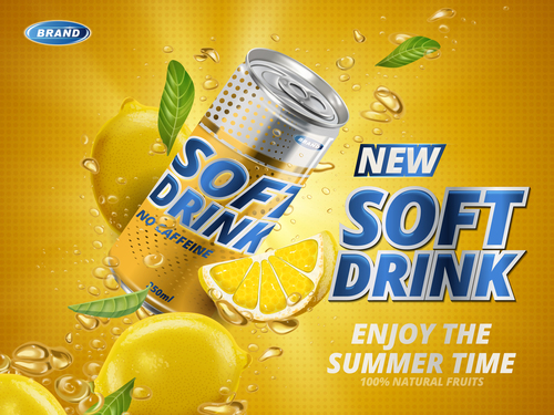 Orange juice soft drink advertising vector