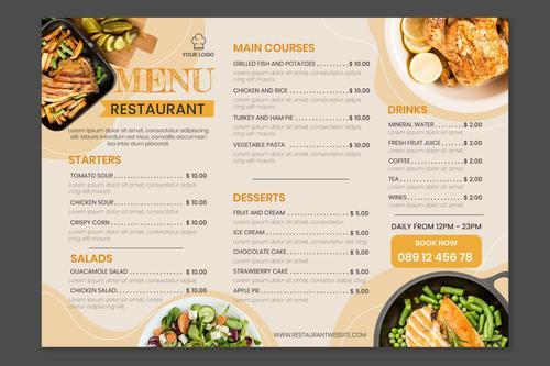 Organic flat rustic restaurant menu template with photo vector