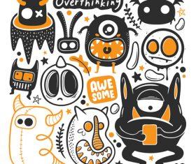Overthinking monster illustration vector