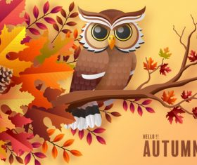 Owl cartoon illustration vector on branch