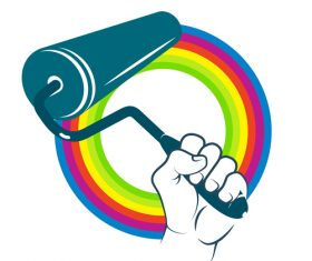 Paint roller in hand design logo vector