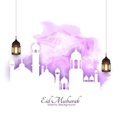 Paper cut eid mubarak background vector