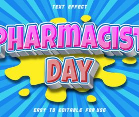 Pharmacist Day 3D emboos comic style vector
