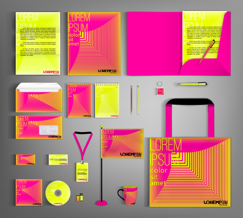 Pink and yellow line background business template vector