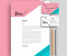 Pink business letterhead and business card vector