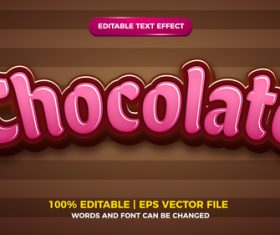 Pink chocolate vector editable text effect