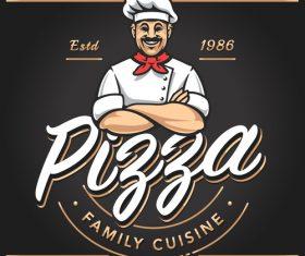 Pizzeria emblem design vector