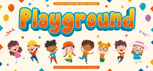 Playground editable vector text effect vector