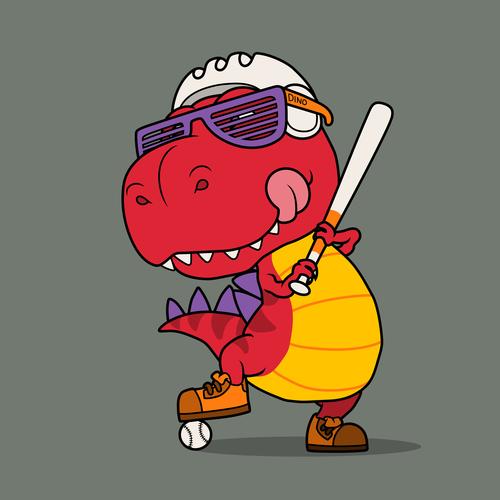 Playing baseball animal cartoon vector