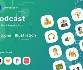 Podcast icons pack vector