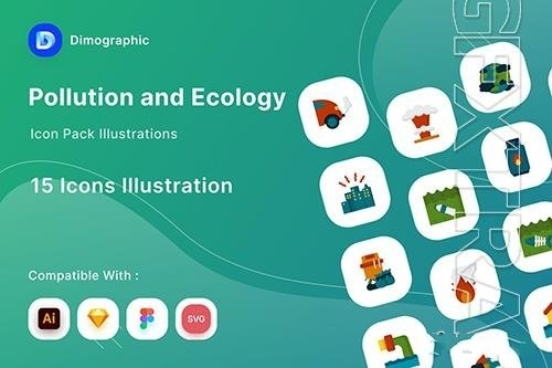 Pollution and ecology icon pack vector