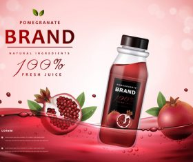 Pomegranate fresh juice advertising vector