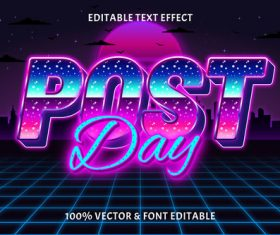 Post day day editable text effect retro style vector