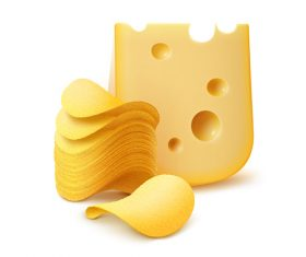 Potato chips and cheese vector