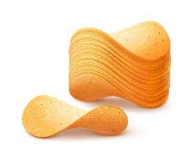 Potato chips closeup vector
