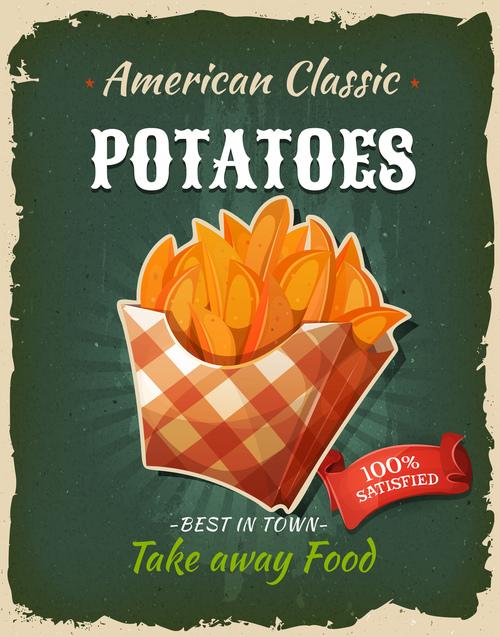 Potatoes flyer vector