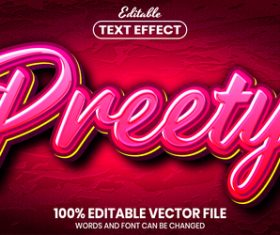 Preety text font style vector