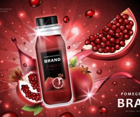 Pure natural pomegranate fresh juice advertising vector