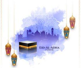 Purple background eid al adha mubarak vector
