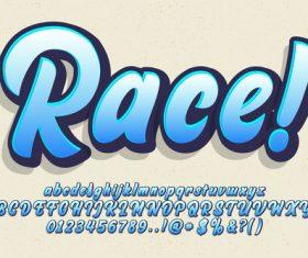 Race 3D emboss baby blue style vector