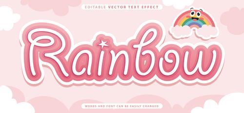 Rainbow editable vector text effect vector