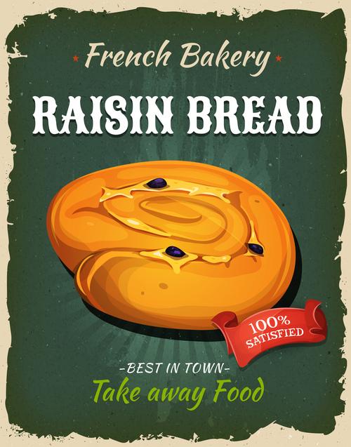 Raisin bread flyer vector