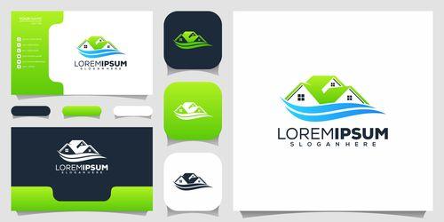 Real estate sales business card design vector