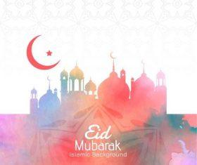 Red Islamic eid mubarak background vector