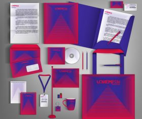 Red and dark blue line background business template vector