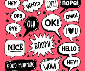 Red background cartoon bubble text vector