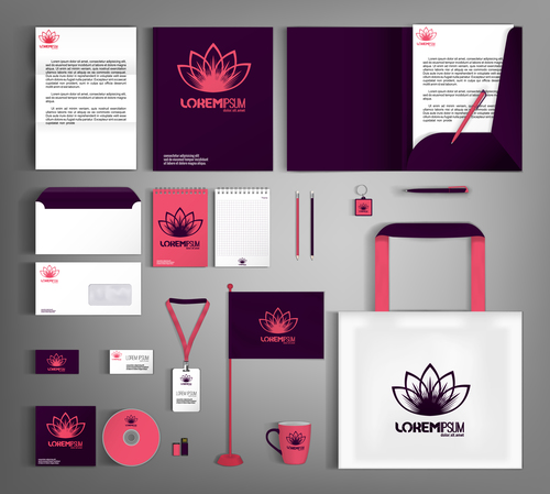 Red lotus background business template vector