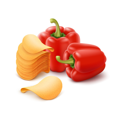 Red pepper and potato chips close up vector