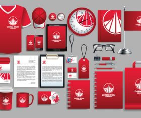 Red stationery set vector