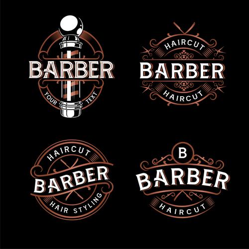Retro barber shop logo design vector