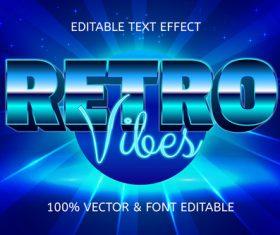 Retro vibes style retro editable text effect vector