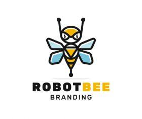 Robot bee logo vector