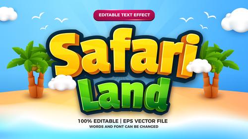 Safari land cartoon comic vector editable text effect